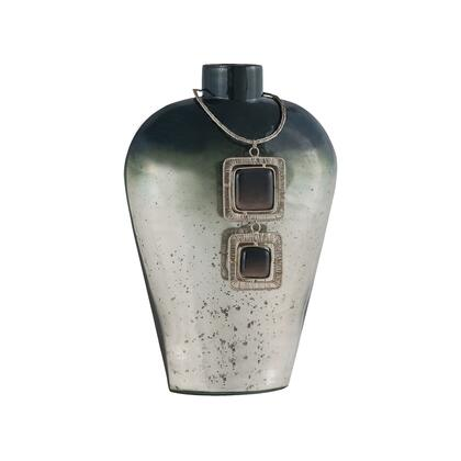 Vase Kairos Collection 8468-070 11 inch  Tall Vase with 2 Square Black Stones  Woven Silver Wire  Distressed Look and Glass Material in Slate