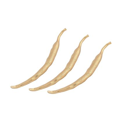 Mazatlan Collection 8903-053/S3 Set of 3 13 inch  Decorative Chili Set with Distressed Look and Aluminum Material in Gold Plate