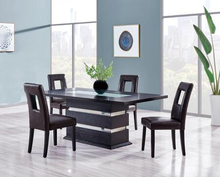 DG072DT4DG072DC-BR 5-Piece Dining Room Set with Dining Table and 4 Dining Chairs in Wenge and
