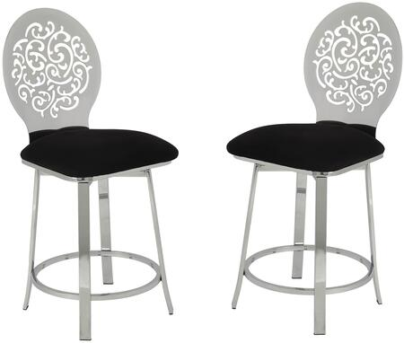 Felice Collection 96834 Set of 2 Counter Height Chairs with 360 Degrees Swivel Seat  Metal Cut-Out Pattern High Backrest  Footrest Ring  Black Microfiber Seat