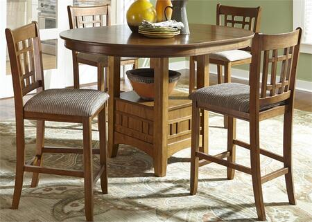 Santa Rosa Pub Collection 25-CD-5PUB 5-Piece Pub Set with Pub Table and 4 Mission Barstools in Mission Oak