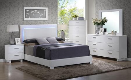 Lorimar 22637EK6PC Bedroom Set with Eastern King Size Bed + Dresser + Mirror + Chest + Nightstand in White