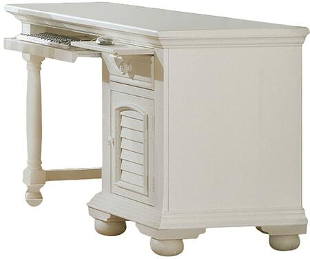 Cottage Traditions 6510-342 Computer Desk with One Drawer  One Door and Bun Feet in Eggshell
