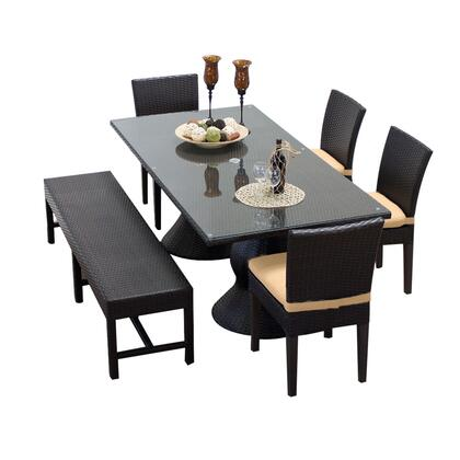 NAPA-RECTANGLE-KIT-4C1B-C-SESAME Napa Rectangular Outdoor Patio Dining Table With 4 Chairs and 1 Bench with 2 Covers: Wheat and