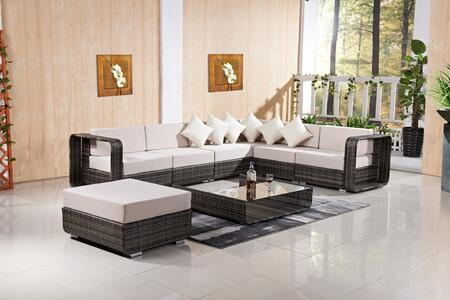 FQ-802-G-LG Patio Set with Sectional Sofa  Ottoman and Coffee Table Grey in Brown and Light