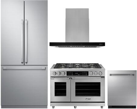 """Dacor 4 Piece Kitchen Appliances Package with 36"""" French Door Refrigerator  48"""" Gas Range  48"""" Island Mount Ducted Hood and 24"""" Fully Integrated Dishwasher"""