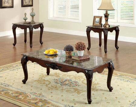 Colchester Collection CM4423-3PK 3-Piece Living Room Table Set with Coffee Table and 2 End Tables in Dark