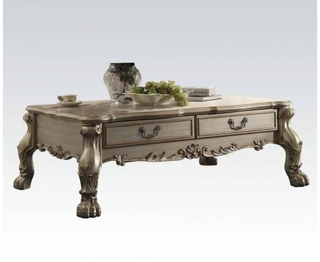 82090 Dresden Rectangular Coffee Table with 2 Drawers  Decorative Metal Hardware and Carved Apron in Gold Patina