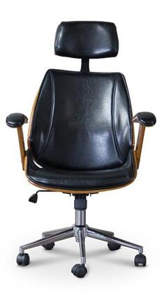 Baxton Studio SDM-2378-1 Walnut/Black-OC Hamilton Office Chair with 360-Degree Swivel  Adjustable Seat Height  Plywood Frame  Chrome-Plated Steel Base and Faux