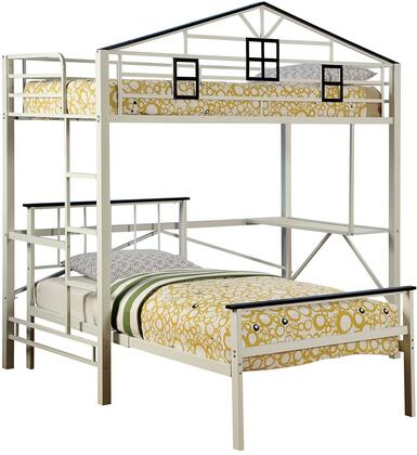 Fortress Collection CM-BK933L Twin Size Loft Bed with Slats Top and Bottom  House Design  Side Access Ladder and Full Metal Construction in Chocolate and White