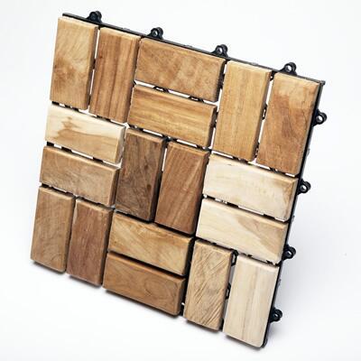 899029001453 Le Click Flex Teak Interlocking Decking Tiles