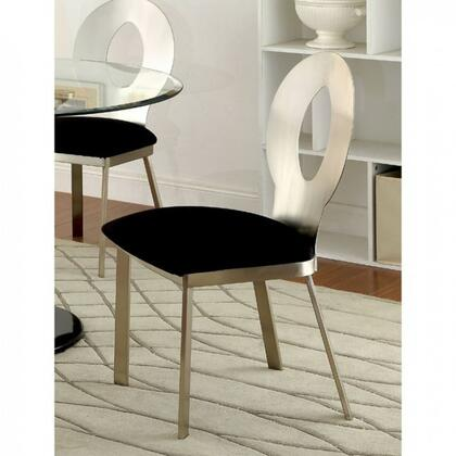 Valo Collection CM3727SC-2PK Set of 2 Contemporary Style Side Chair with Oval Back Padded Microfiber Seat and Metal Frames with Satin Plated Powder Coating in