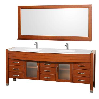 WCV220078CHWH 78 in. Double Bathroom Vanity in Cherry with White Man-Made Stone Top with White Integral Sinks and 70.75 in.
