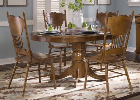 Nostalgia Collection 10-CD-O5PCS 5-Piece Dining Room Set with Round Pedestal Table and 4 Double Press Back Side Chair in Medium Oak