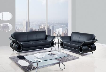 U559-BL-SLC 3 Piece Leather Livingroom Set in Black  Sofa + Loveseat +