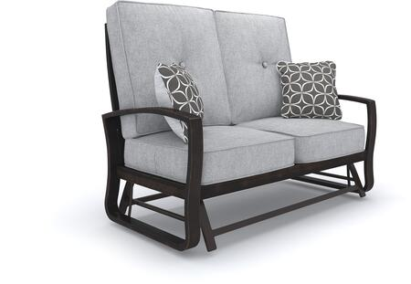 Castle Island Collection P414-835 56 inch  Outdoor Loveseat Glider with Removable Cushion  Pillows Included  Nuvella Fabric and Rust-Proof Aluminum Construction in