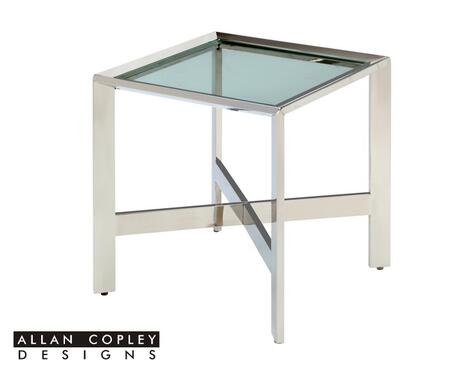 ACD-2101-02-SS Denise End Table with Clear Tempored Glass Top and Polished Stainless Steel Base by Allan Copley