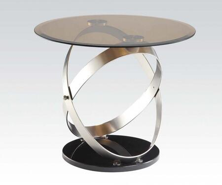 Olly Collection 80927 26 inch  End Table with 8mm Tempered Smoky Glass Top  Satin  inch X inch  Style Overlap Metal Hoops Stand  Beveled Edge and Medium-Density Fiberboard