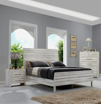 Shayla Collection 23964CK3SET 3 PC Bedroom Set with California King Size Bed  Chest and Nightstand in Antique White