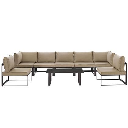 Fortuna Collection EEI-1730-BRN-MOC-SET 8 PC Outdoor Patio Sectional Sofa Set with 2 Corner Chairs  5 Armless Chairs  Tempered Glass Top Coffee Table  Powder
