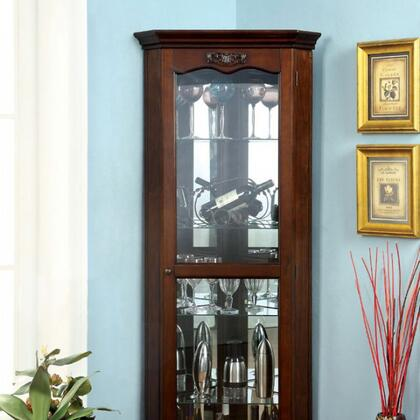 Ortley CM-CR133 Curio with Traditional Style  5mm Tempered Glass  Framed Glass Door  Solid Wood  Wood Veneers and Others in