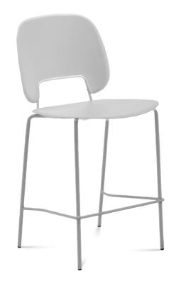 TRAFF.R.A0F.SA.PGC Traffic Stacking Chair with Sand Lacquered Steel Frame  Polished Metal Legs  Light Grey Polypropylene Seat and