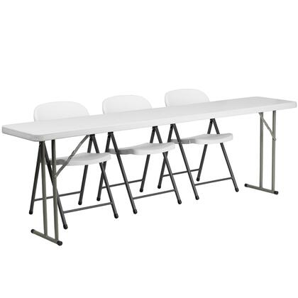 RB-1896-2-GG 18'' x 96'' Plastic Folding Training Table with 3 White Plastic Folding