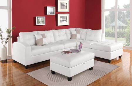 Kiva Collection 51175 Reversible Sectional with Left Facing Sofa  Chaise  Pillows  Pocket Coil Seating  Bonded Leather Match Upholstery  Tufted Back and Seat