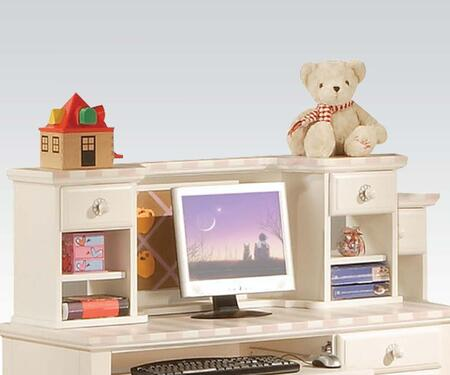 11044 Zoe White Desk Hutch with Pink Striped 263760
