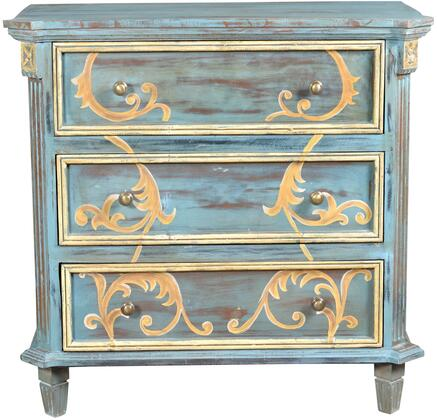 Chanda 13413 37 inch  Chest with Scroll Design  Painted weathered Appearance and Tapered Legs in
