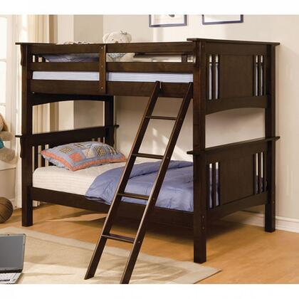 Spring Creek Collection CM-BK602T-EXP-BED Twin/Twin Bunk Bed with Mission Style  Angled Ladder  10 Pc. Slats Top and Bottom  Solid Wood  Wood Veneer in Dark