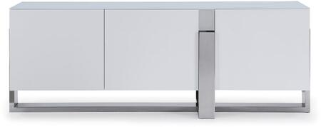 SB1439WHT Blake Buffet 5Mm Tempered Crystal Frosted Glass Top  Matte White  Polished Stainless Steel