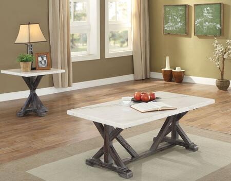 Romina Collection 2 PC Living Room  Table Set with Coffee Table + End Table in Weathered Espresso