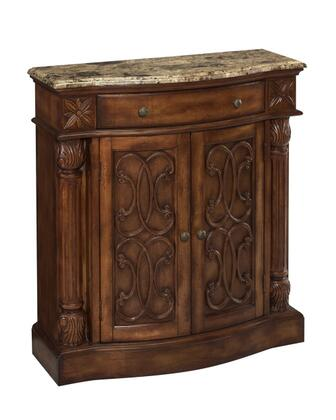 65164 Monte Carlo Collection Narrow Cabinet with 2 Doors and 1 Drawer: Aged Pecan/Marble