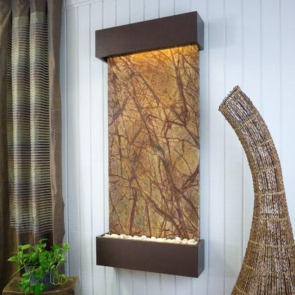 Nojoqui Falls WWLVCB-CV 58 inch  Large Rainforest Brown Marble Wall Fountain with Warm White Dimmable LED Lighting  Remote Control  4 Gallon Capacity  Adjustable