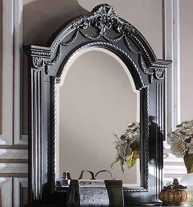 Athena Silver Collection 20924 40 inch  x 44 inch  Mirror with Beveled Edge  Bronze Metal Hardware and Pine Wood Construction in Espresso