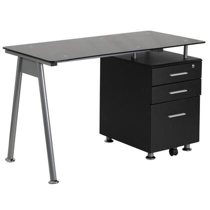NAN-WK-021A-GG Black Glass Computer Desk with Three Drawer