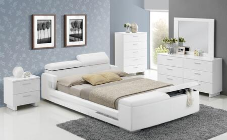 Layla 20677EK5PC Bedroom Set with Eastern King Size Bed + Dresser + Mirror + Chest + Nightstand in White