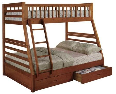 Boise Collection Twin Over Full Size Bunk Bed with 2 Storage Drawers  Ladder Included  Solid Hardwood Construction and Wood Veneer Material in Oak