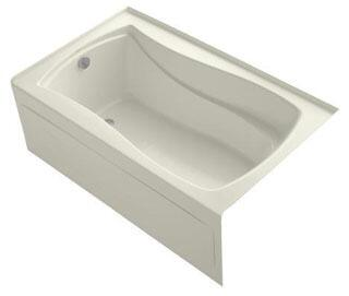 K-1242-LAW-96 Biscuit 60x36x20 Alcove Apron-Front Acrylic Soaking Bath Tub With Bask Heated Surface  Tile Flange And Left