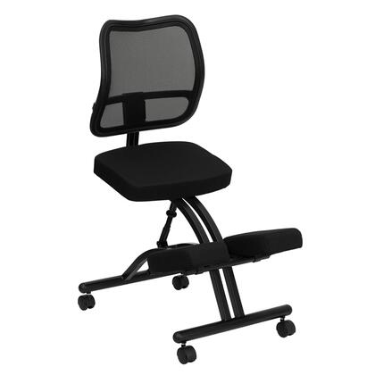 WL-3520-GG Mobile Ergonomic Kneeling Chair with Black Curved Mesh Back and Fabric