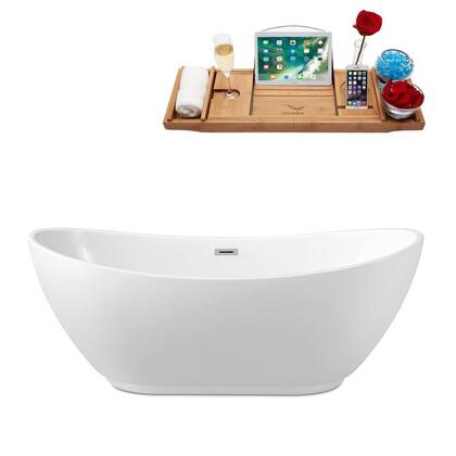 N58062FSWHFM 62 inch  Soaking Freestanding Tub with Internal Drain  Chrome Color Drain Assembly  125 Gallons Water Capacity  and Acrylic/Fiberglass Construction  in