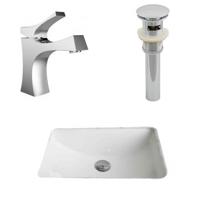 Ai-13255 20.75-in. Width X 14.35-in. Diameter Cupc Rectangle Undermount Sink Set In White With Single Hole Cupc Faucet And