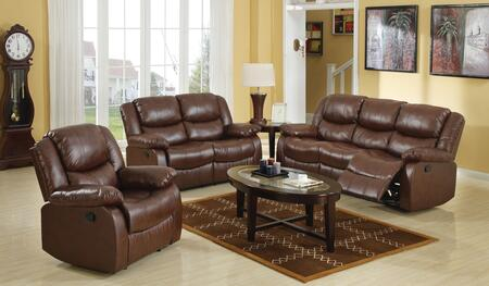 Fullerton 50010SLR 3 PC Living Room Set with Sofa + Loveseat + Recliner in Brown