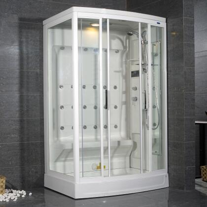ZA219-R Steam Shower  White  24 Body Jets  1 Bench Seat  12V Light  Storage Shelves  Adjustable Feet for Leveling - Right