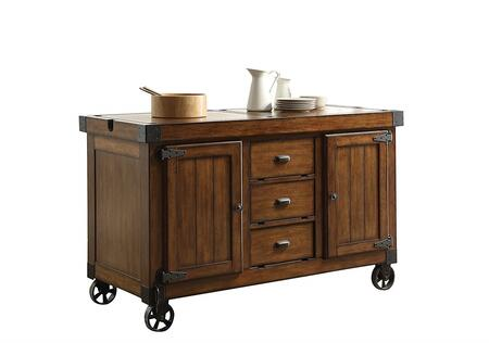 Kabili Collection 98186 57 inch  Kitchen Cart with 3 Drawers  2 Doors  2 Shelves  Oversized Caster Wheels  Poplar Wood and Qiu Wood Veneer Materials in Antique