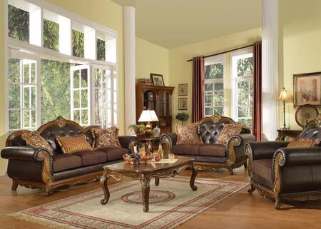 Dorothea Collection 51590SLCT 5 PC Living Room Set with Sofa + Loveseat + Chair + Coffee Table + End Table in Cherry