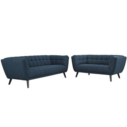 Bestow Collection EEI-2975-BLU-SET 2 PC Sofa and Loveseat Set with Dense Foam Padding  Non-Marking Foot Caps  Black Tapered Wood Legs and Polyester Upholstery