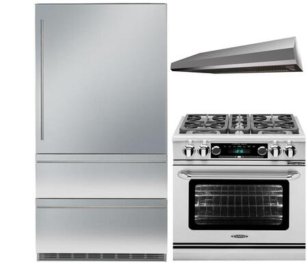 3-Piece Stainless Steel Kitchen Package with MAES3010SS600B 30 inch  Bottom Freezer Refrigerator  CSB304N 30 inch  Freestanding Dual Fuel Range  and MAES3010SS600B 30 inch