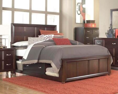 Eastlake 2 Collection 4 Piece Bedroom Set With Queen Size Storage Panel Bed + 1 Nightstands + Dresser + Mirror: